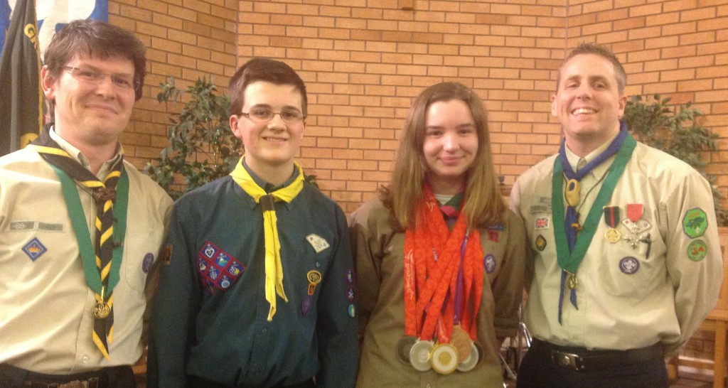 Ben and Sarah at their Chief Scouts Gold Award Presentation with Paralympian Swimmer Matt Walker and Scout Leader Neal Charlton
