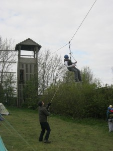 5th Hyde Scouts on the Zip Wire at Ashworth Valley Scout Camp